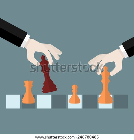 Flat design modern vector illustration concept of checkmate with isolated hands holding chess pieces over chessboard