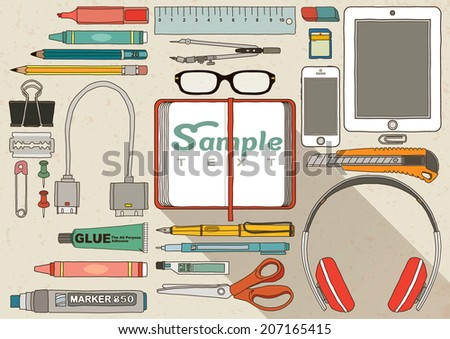Flat design modern vector illustration concept of creative office accessories, Office Stationary Doodle - stock vector