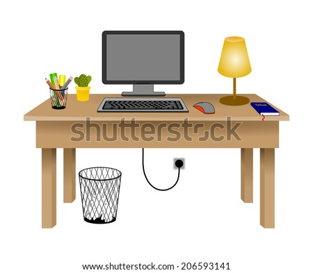 Flat design modern vector illustration concept of creative office workspace, workplace. Desk with desktop computer, lamp, office objects, book and trash can. isolated on white background, vector - stock vector