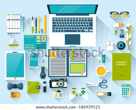 Flat design modern vector illustration concept of creative office workspace, workplace. Top view of desk background with laptop, digital devices, office objects, books and documents with long shadows - stock vector