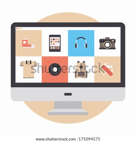 Flat design modern vector illustration concept of designer portfolio website with various icons or online shopping web store for purchasing product via internet. Isolated on white background. - stock vector
