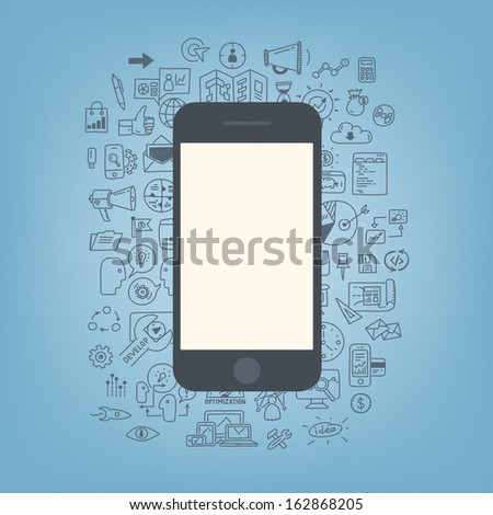 Flat design modern vector illustration concept of doodle drawing icons on web development and business process with modern mobile phone with blank screen. Isolated on stylish color background - stock vector