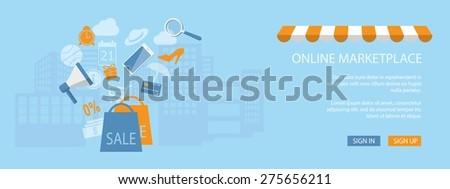 Flat design modern vector illustration concept of  e-mail marketing, management, marketplace online - eps10 - stock vector