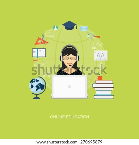 Flat design modern vector illustration concept of education, tutorials, learning with girl, globe, books and laptop - eps10 - stock vector
