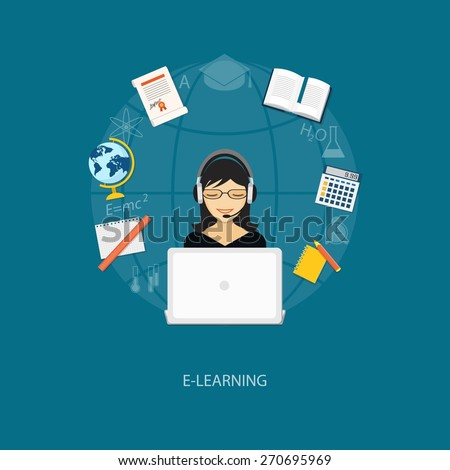 Flat design modern vector illustration concept of education, tutorials, learning with girl, globe, book and laptop - eps10 - stock vector