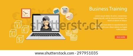 Flat design modern vector illustration  concept of  higher school, university, online education,  business studying, training, webinar with cartoon girl, laptop, calculator, credit card - eps 10 - stock vector