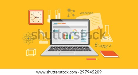 Flat design modern vector illustration  concept of  higher school, university, online education, e-learning, business  studying, training, webinar with clock and laptop  - eps 10 - stock vector