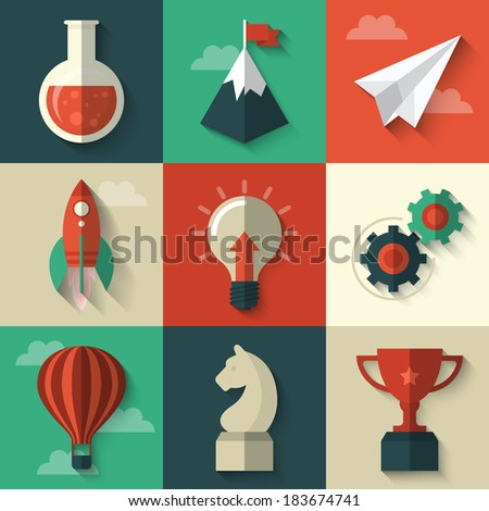 Flat design modern vector illustration concept of icons for start up  - stock vector