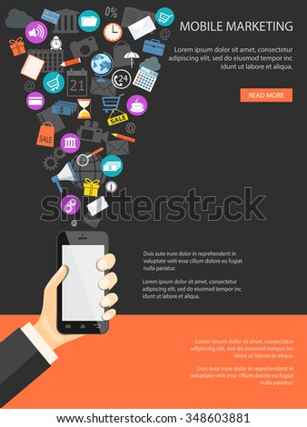 Flat design modern vector illustration concept of mobile banking, shopping, marketing with mobile phone in the hand and web icons. EPS 10