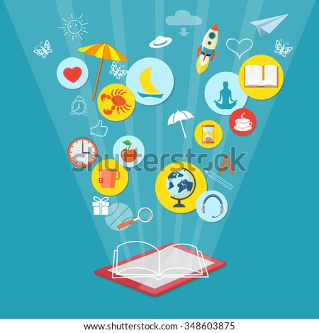 Flat design modern vector illustration concept of mobile shopping, marketing, book reader with tablet  and website icons. EPS 10 - stock vector
