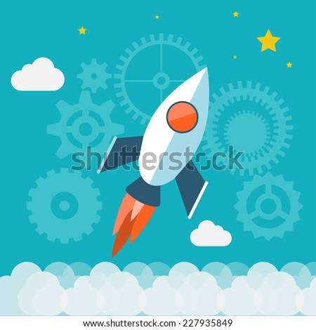 Flat design modern vector illustration concept of new business project start up development and launch a new innovation product on a market. Isolated on stylish color background - stock vector