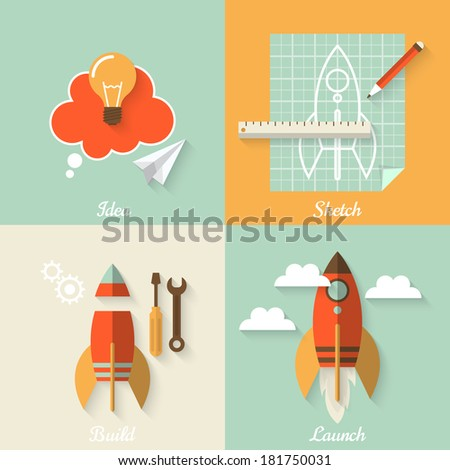 Flat design modern vector illustration concept of new business project startup development and launch a new innovation product on a market - stock vector