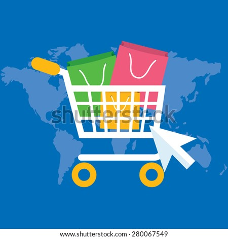 Flat design modern vector illustration concept of pay per click internet shopping. Isolated on stylish background - stock vector