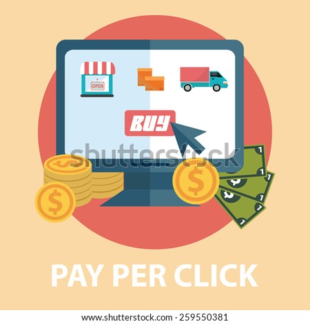 Flat design modern vector illustration concept of pay per click, Shopping online. Isolated on stylish background - stock vector