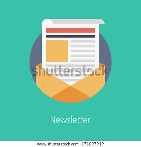 Flat design modern vector illustration concept of regularly distributed news publication via e-mail with some topics of interest to its subscribers. Isolated on stylish color background.  - stock vector