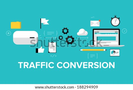 Flat design modern vector illustration concept of the website traffic conversion growth, webpage search engine optimization, web site analyzing and content development. Isolated on stylish background - stock vector