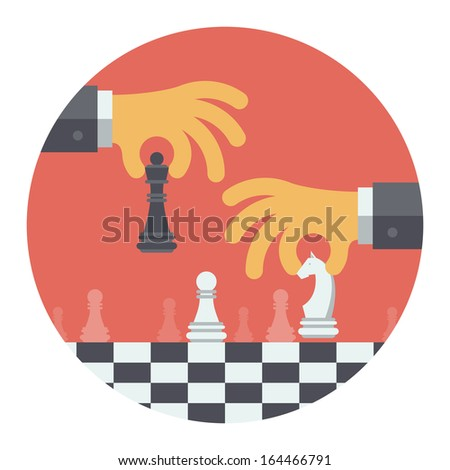 Flat design modern vector illustration concept of two business people playing chess and try to find strategic position and tactic for long-term success plan or goal. Isolated on white background - stock vector