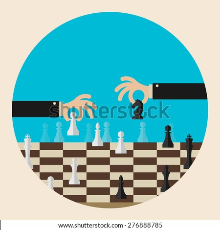 Flat design modern vector illustration concept of two business people playing chess and try to find strategic position and tactic for long-term success plan or goal. - stock vector