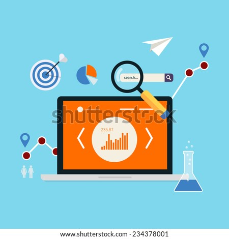 Flat design modern vector illustration concept of website analytics and market research using modern mobile devices. - stock vector