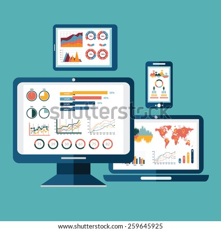 Flat design modern vector illustration concept of website analytics search information and computing data analysis using modern electronic and mobile devices. Isolated on stylish background - stock vector