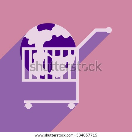 Flat design modern vector illustration icon globe in trolley  - stock vector