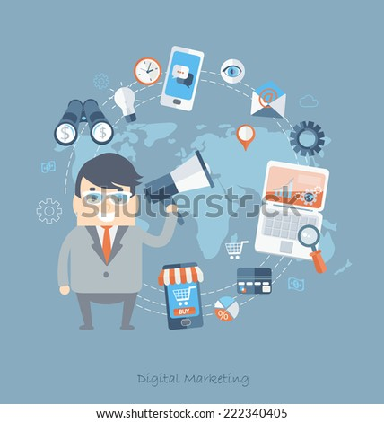Flat design modern vector illustration icons in stylish colors  of business working elements for digital marketing. Vector. - stock vector