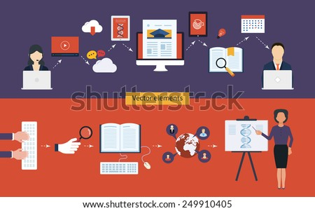 Flat design modern vector illustration icons set of distance education and e-learning - stock vector