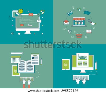 Flat design modern vector illustration icons set of online education and e-learning. Mobile marketing and online store concept flat icons. Pay per click.  Icons for programming, workflow.   - stock vector
