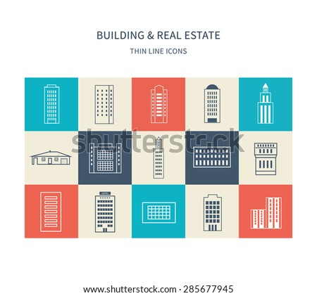 Flat design modern vector illustration icons set of urban landscape and city life. Buildings thin line icons - stock vector