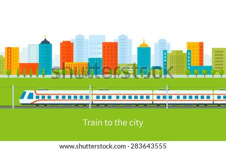 Flat design modern vector illustration icons set of urban landscape and train on railway - stock vector