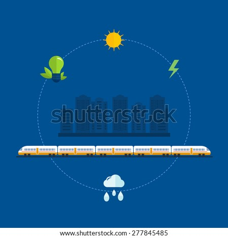 Flat design modern vector illustration icons set of urban landscape, train on railway and eco friendly energy