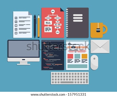 Flat design modern vector illustration icons set of web page programming, user interface elements and workflow objects. Isolated on blue background - stock vector