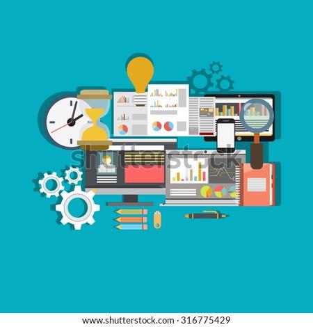 Flat design modern vector illustration icons set of website SEO optimization, programming process and web analytics elements.  - stock vector