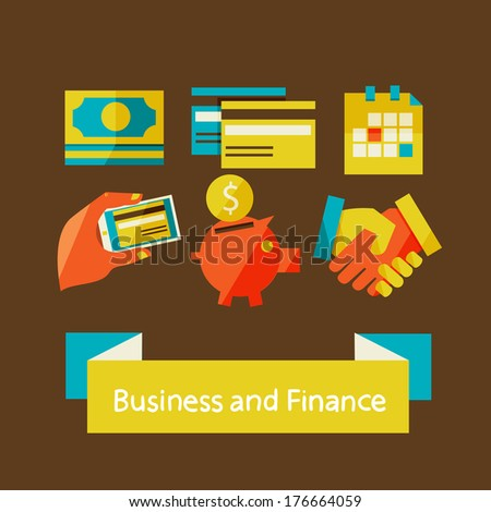 Flat design modern vector illustration in stylish colors. finance and business concept.  - stock vector