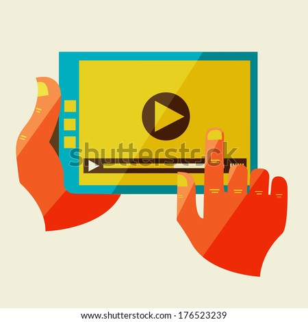 Flat design modern vector illustration in stylish colors of hand touch screen, mobile phone, Creative concept with with video player  on digital tablet   - stock vector