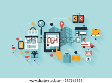 Flat design modern vector illustration infographic concept of purchasing product via internet, mobile shopping communication and delivery service. Isolated on colored stylish background. - stock vector