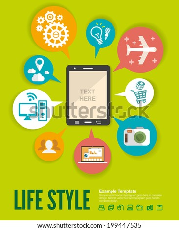 Flat design modern vector illustration infographic concept of variety using of smartphone with lots of multimedia icons and stylish mobile user interface on the phone.  - stock vector