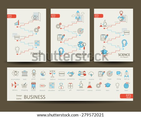 Flat design modern vector illustration infographics outline finance, science, start up concept. Set of 28 flat lianer icons, for web, internet, mobile apps, interface design. - stock vector