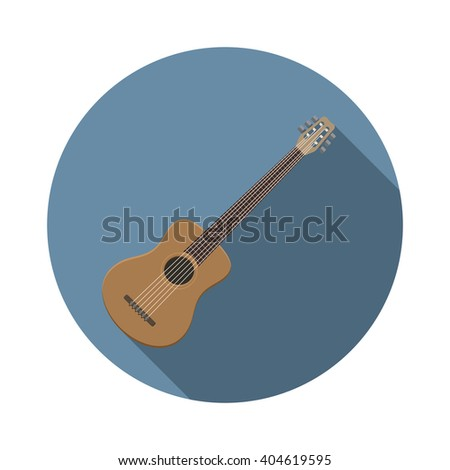 Flat design modern vector illustration of acoustic guitar icon, music instrument with long shadow. - stock vector