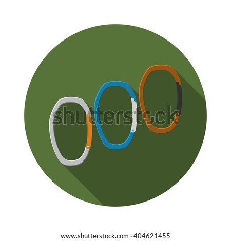 Flat design modern vector illustration of carabiner icon, camping, hiking and mountaineering equipment with long shadow. - stock vector