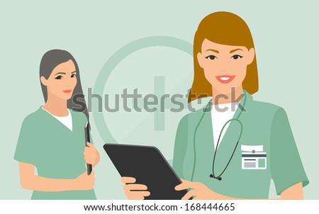 Flat design modern vector illustration of two young women in medical uniform, nurse and doctor with digital tablet and patient document in hands looking with smiles. Isolated on stylish background. - stock vector
