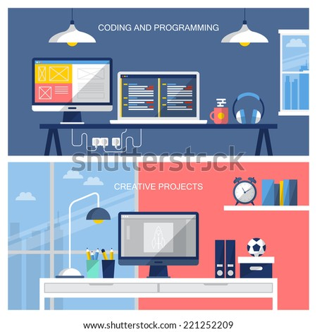 Flat design modern vector illustration of website business services. Office desk template with flat icons. - stock vector