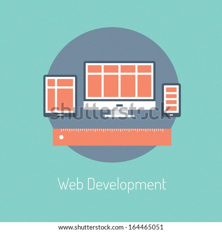 Flat design modern vector illustration poster concept of web programming development and responsive website process design optimization on computer and mobile devices. Isolated on stylish background - stock vector