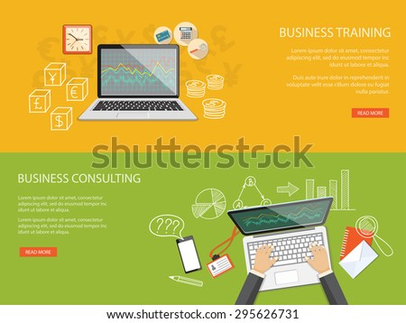 Flat design modern vector illustration set of concept for business education, webinar with mobile phone, clock, laptop and hands - eps 10 - stock vector