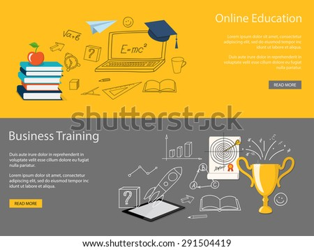 Flat design modern vector illustration set of concept of school, university, business training, online education, study with books, tablet, winner cup - eps 10 - stock vector