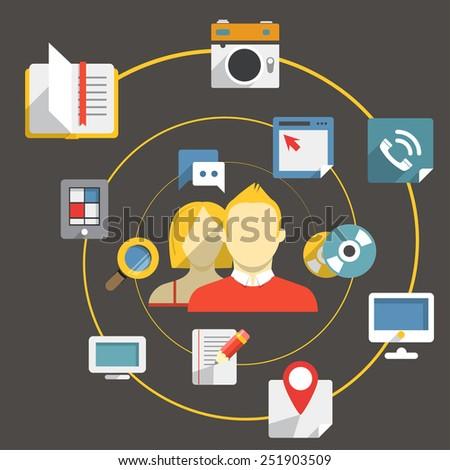 Flat design modern web media network concept - stock vector