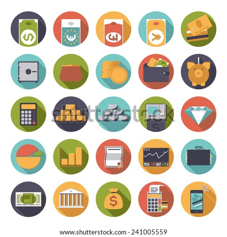 Flat Design Money and Finance Icons Collection. Set of 25 money and finance related icons in circles, flat design. - stock vector