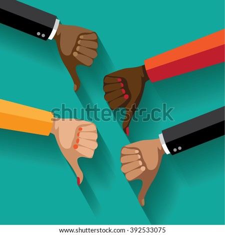 Flat design multicultural group thumbs down. EPS 10 vector. - stock vector
