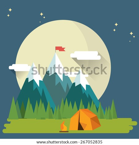 Flat Design Nature Landscape illustration of  Mountains and Forrest - stock vector