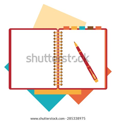 Flat design notepad, paper sheet isolated on white background whit place for text. - stock vector
